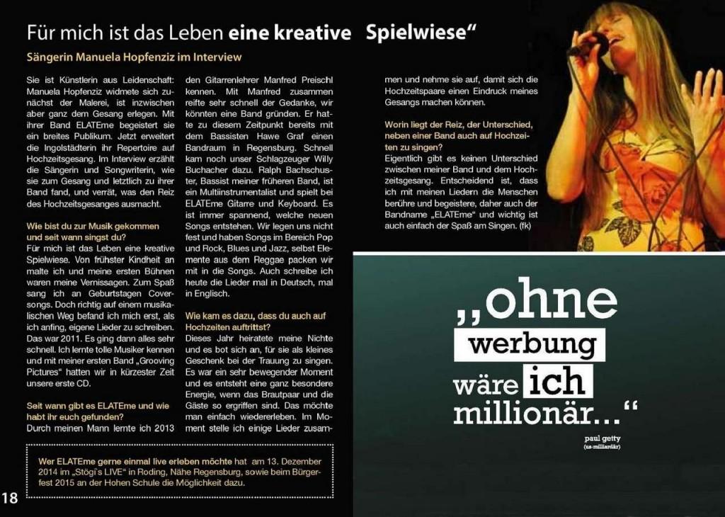 Bericht im Ingolstadt Atlas Event & Freizeitguide November 2014