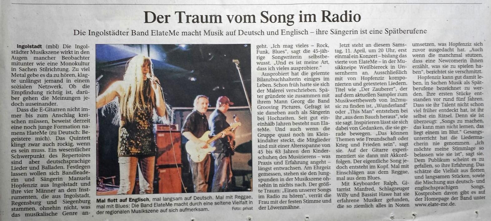 Bericht im Donau Kurier vom 11./12. April 2015